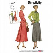8747 Simplicity Pattern: Misses' Vintage 1950's Skirt and Jacket